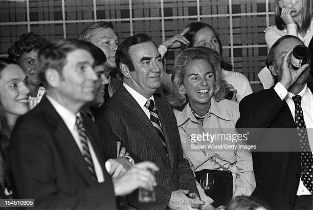 American lawyer and politician Hugh Carey celebrates inauguration of New York Governor with among unidentified others Ethel Kennedy New York New York...