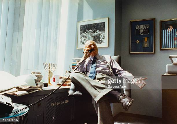American lawyer politician political commentator and past mayor of New York City Ed Koch in his law office in New York City USA June 1991