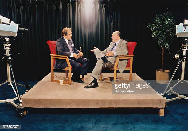 American lawyer politician political commentator and past mayor of New York City Ed Koch is interviewed for television USA June 1991