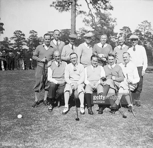 American leaders of finance and industry with golf pros Seated Rex Cole Pres of Refrigerator Corp MH Aylesworth Pres of NBC Bobby Jones Kent Cooper...
