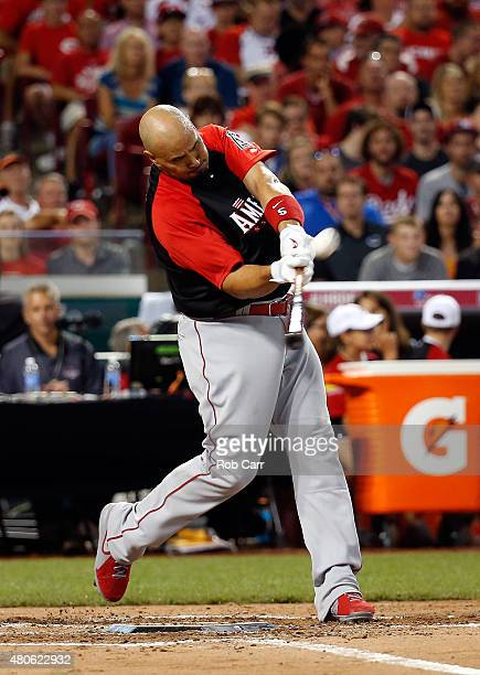 American League AllStar Albert Pujols of the Los Angeles Angels of Anaheim bats during the Gillette Home Run Derby presented by Head Shoulders at the...
