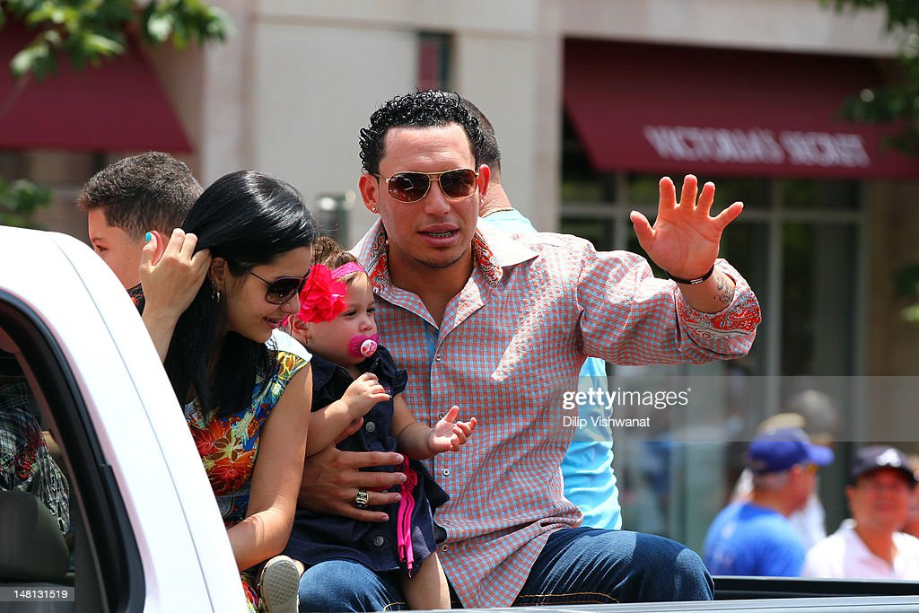 American League All-Star <a gi-track='captionPersonalityLinkClicked' href=/galleries/search?phrase=Asdrubal+Cabrera&family=editorial&specificpeople=834042 ng-click='$event.stopPropagation()'>Asdrubal Cabrera</a> #13 of the Cleveland Indians waves to the fans during the All-Star Game Red Carpet Show presented by Chevrolet on July 10, 2012 in Kansas City, Missouri.