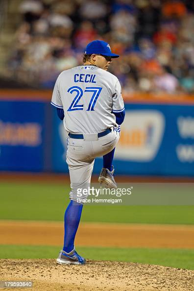 American League AllStar Brett Cecil of the Toronto Blue Jays pitches during the 84th MLB AllStar Game on July 16 2013 at Citi Field in the Flushing...