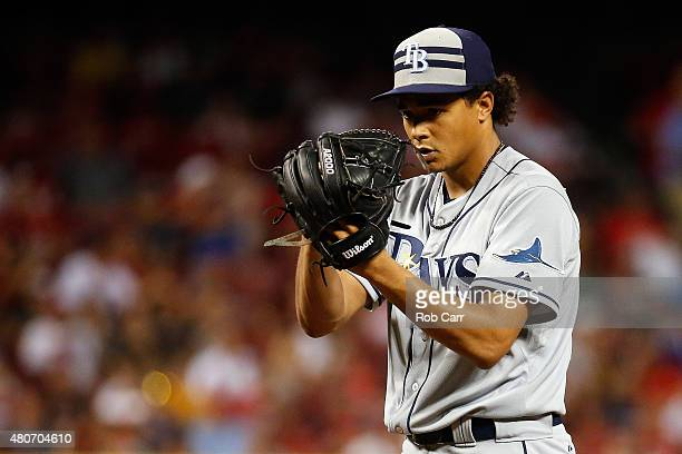 American League AllStar Chris Archer of the Tampa Bay Rays looks on in the fifth inning against the National League during the 86th MLB AllStar Game...