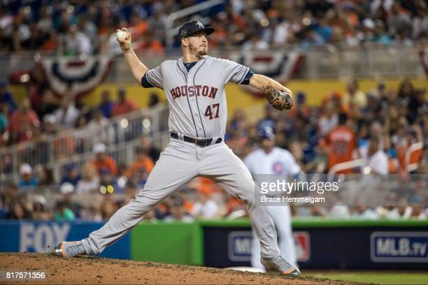 American League AllStar Chris Devenski of the Houston Astros pitches during the 88th MLB AllStar Game at Marlins Park on July 11 2017 in Miami Florida