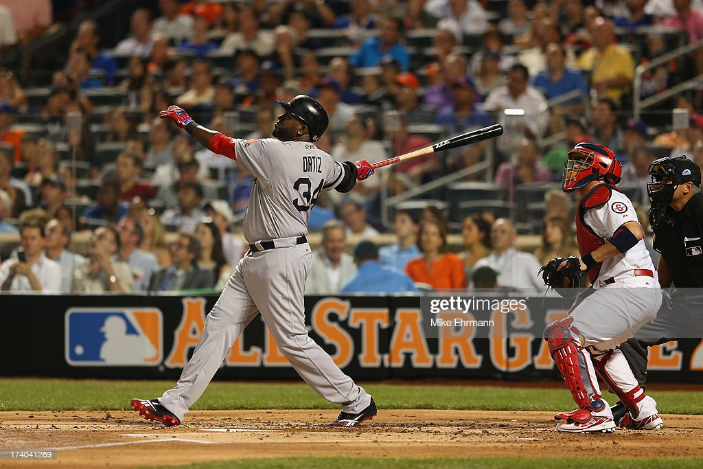 American League All-Star David Ortiz #34 of the Boston Red Sox bats against the National League All-Stars during the 84th MLB All-Star Game on July 16, 2013 at Citi Field in the Flushing neighborhood of the Queens borough of New York City.