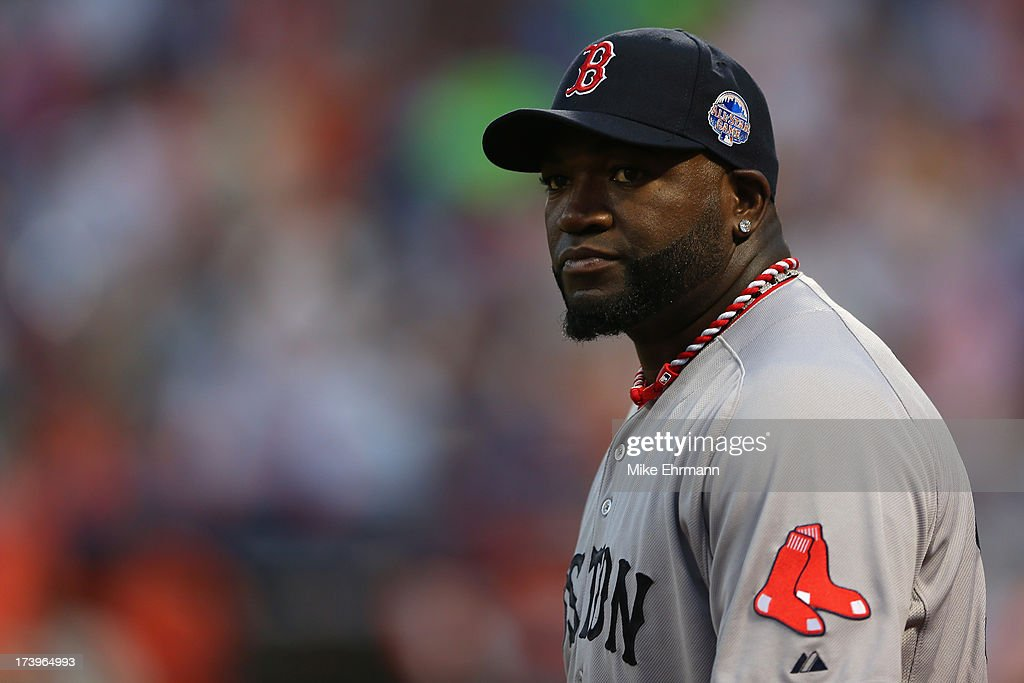 American League All-Star David Ortiz #34 of the Boston Red Sox looks on during the 84th MLB All-Star Game on July 16, 2013 at Citi Field in the Flushing neighborhood of the Queens borough of New York City.