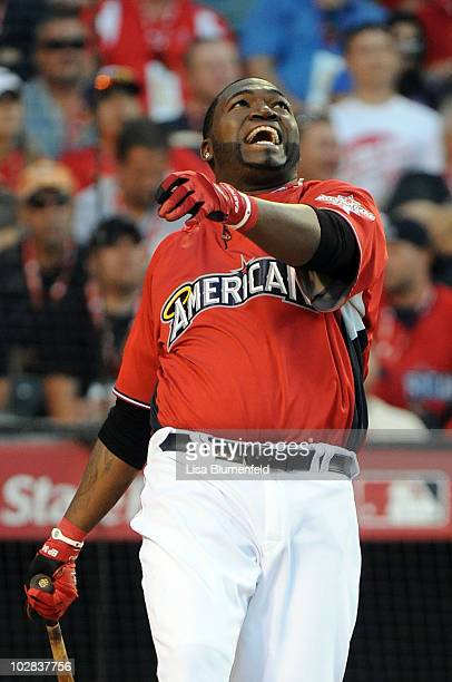American League AllStar David Ortiz of the Boston Red Sox smiles at bat during the fianl round of the 2010 State Farm Home Run Derby during AllStar...
