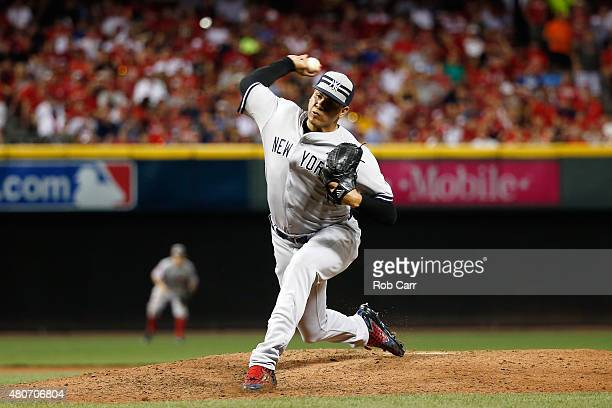 American League AllStar Dellin Betances of the New York Yankees throws a pitch in the seventh inning against the National League during the 86th MLB...
