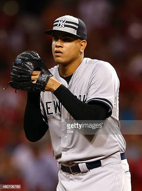 American League AllStar Dellin Betances of the New York Yankees looks on in the seventh inning against the National League during the 86th MLB...