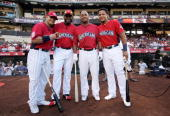 American League AllStar derby contestants Nick Swisher David Ortiz Vernon Wells and Miguel Cabrera during the 2010 State Farm Home Run Derby at Angel...