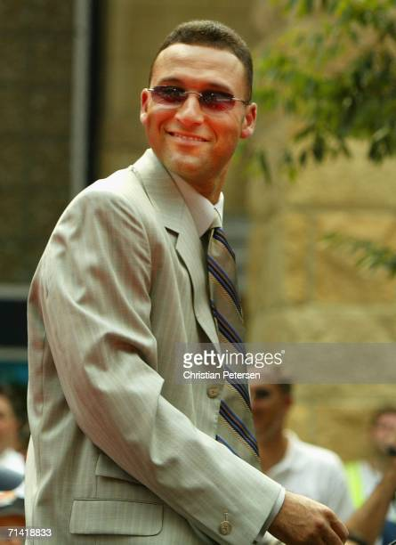 American League AllStar Derek Jeter of the New York Yankees takes part in the 2006 MLB AllStar red carpet arrivals outside of PNC Park on July 11...
