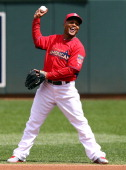 American League AllStar Erick Aybar of the Los Angeles Angels before the 85th MLB AllStar Game at Target Field on July 15 2014 in Minneapolis...