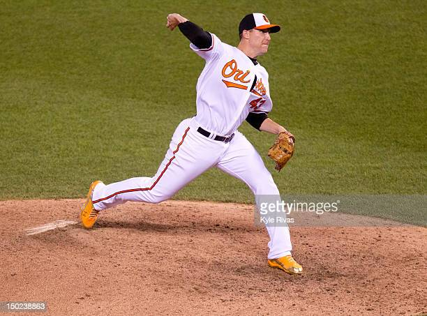 American League AllStar Jim Johnson of the Baltimore Orioles pitches during the 83rd MLB AllStar Game at Kauffman Stadium against the National League...