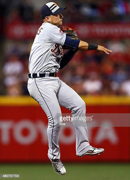 American League AllStar Jose Iglesias of the Detroit Tigers fields the ball against the National League during the 86th MLB AllStar Game at the Great...