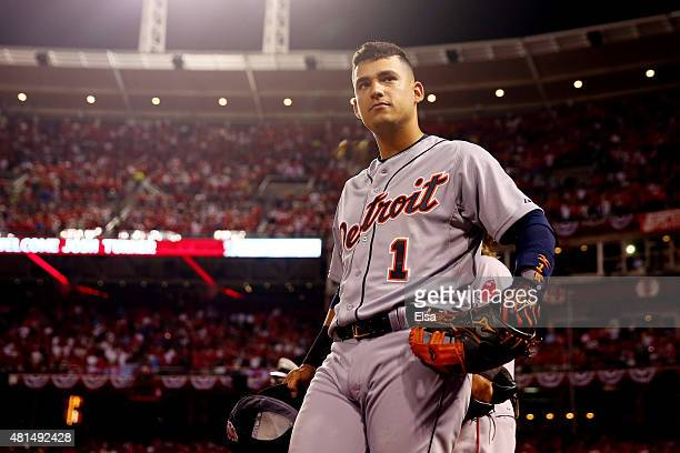 American League AllStar Jose Iglesias of the Detroit Tigers stands near the dugout during the 86th MLB AllStar Game at the Great American Ball Park...