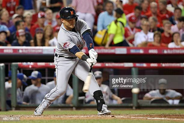 American League AllStar Jose Iglesias of the Detroit Tigers swings at the ball during the 86th MLB AllStar Game at Great American Ball Park in...