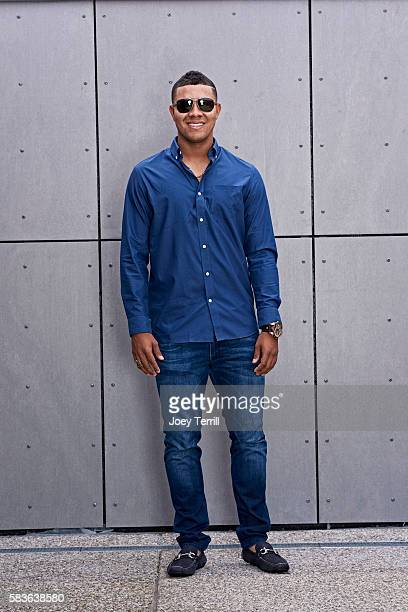 American League AllStar Jose Quintana of the Chicago White Sox poses for a portrait as he enters Petco Park following the Red Carpet parade before...