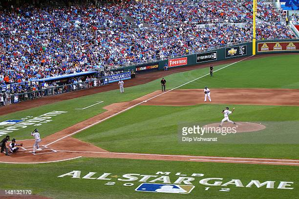 American League AllStar Justin Verlander of the Detroit Tigers pitches in the first inning to National League AllStar Carlos Gonzalez of the Colorado...