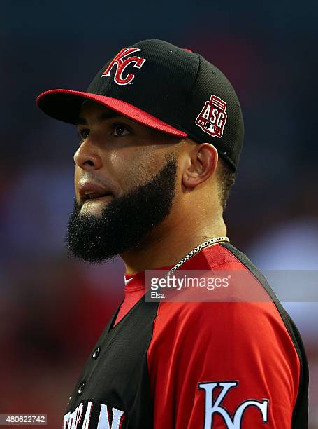 American League AllStar Kelvin Herrera of the Kansas City Royals looks on during the Gillette Home Run Derby presented by Head Shoulders at the Great...
