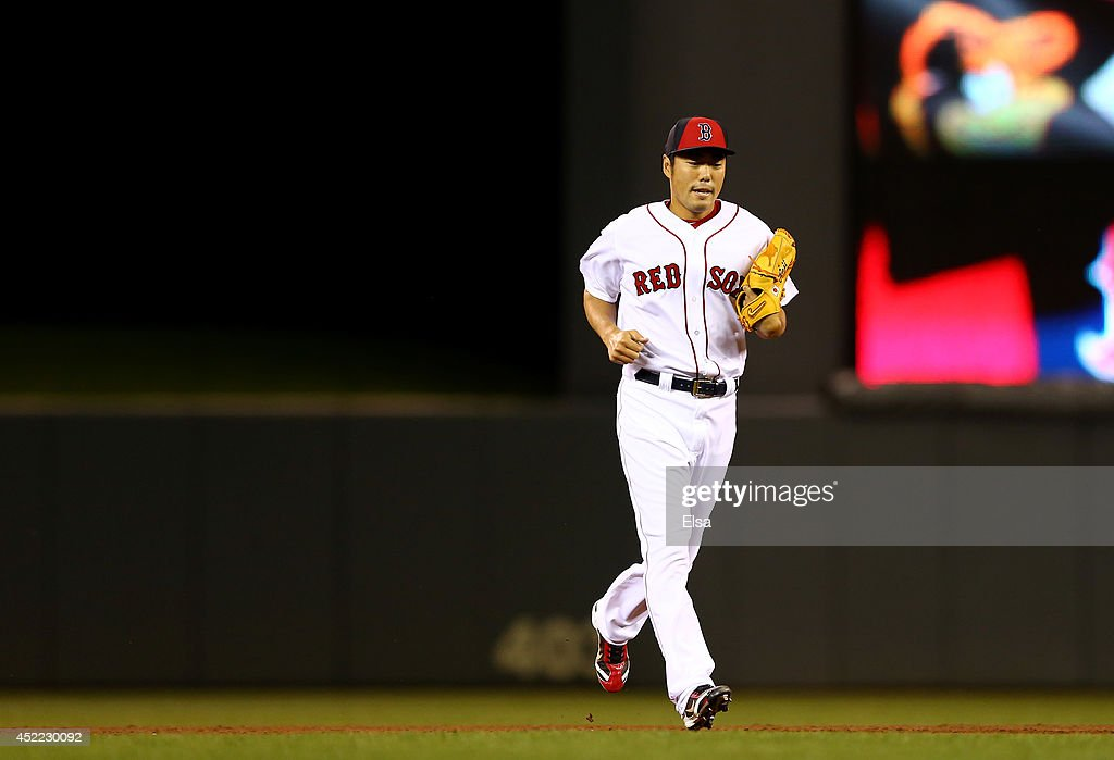 American League All-Star <a gi-track='captionPersonalityLinkClicked' href=/galleries/search?phrase=Koji+Uehara&family=editorial&specificpeople=801278 ng-click='$event.stopPropagation()'>Koji Uehara</a> #19 of the Boston Red Sox enters the game against the National League All-Stars in the sixth inning during the 85th MLB All-Star Game at Target Field on July 15, 2014 in Minneapolis, Minnesota.