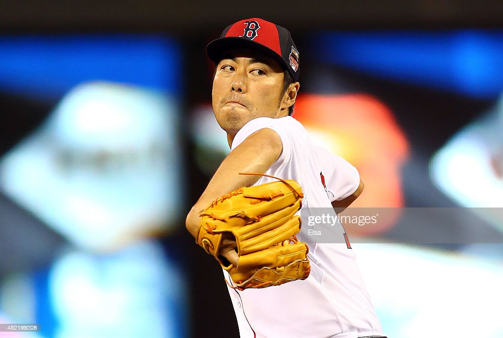American League All-Star Koji Uehara #19 of the Boston Red Sox pitches against the National League All-Stars in the sixth inning during the 85th MLB All-Star Game at Target Field on July 15, 2014 in Minneapolis, Minnesota.