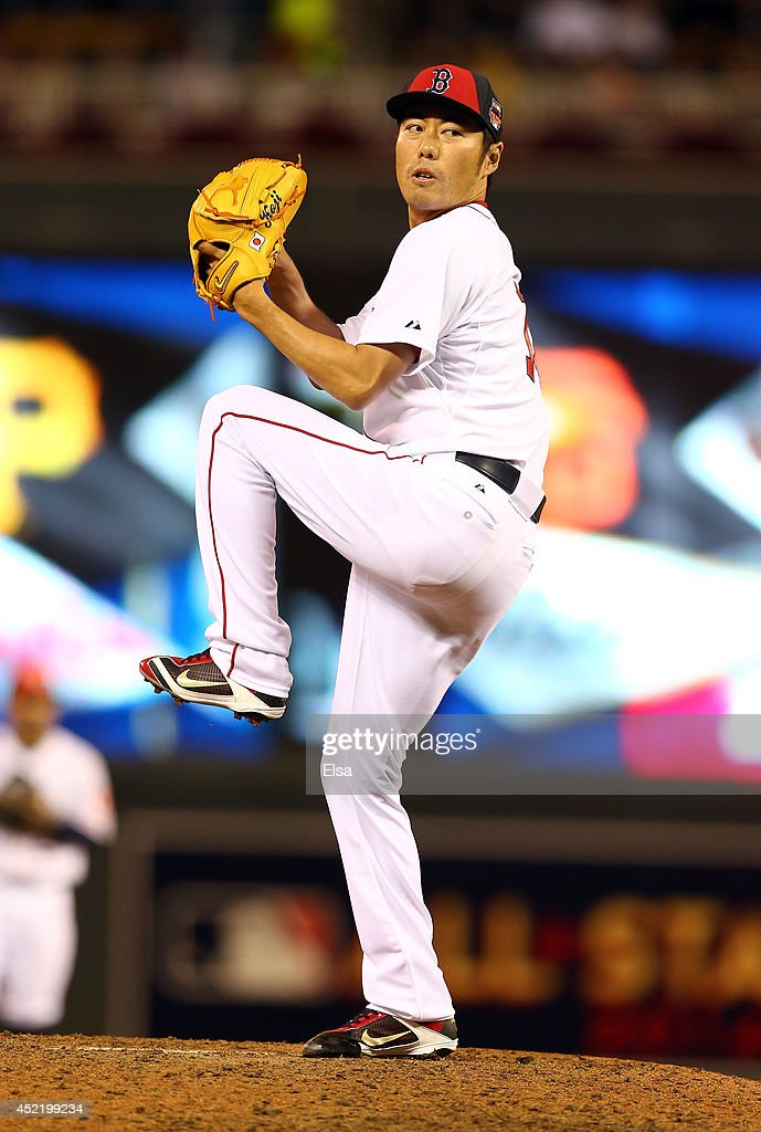 American League All-Star <a gi-track='captionPersonalityLinkClicked' href=/galleries/search?phrase=Koji+Uehara&family=editorial&specificpeople=801278 ng-click='$event.stopPropagation()'>Koji Uehara</a> #19 of the Boston Red Sox pitches against the National League All-Stars in the sixth inning during the 85th MLB All-Star Game at Target Field on July 15, 2014 in Minneapolis, Minnesota.