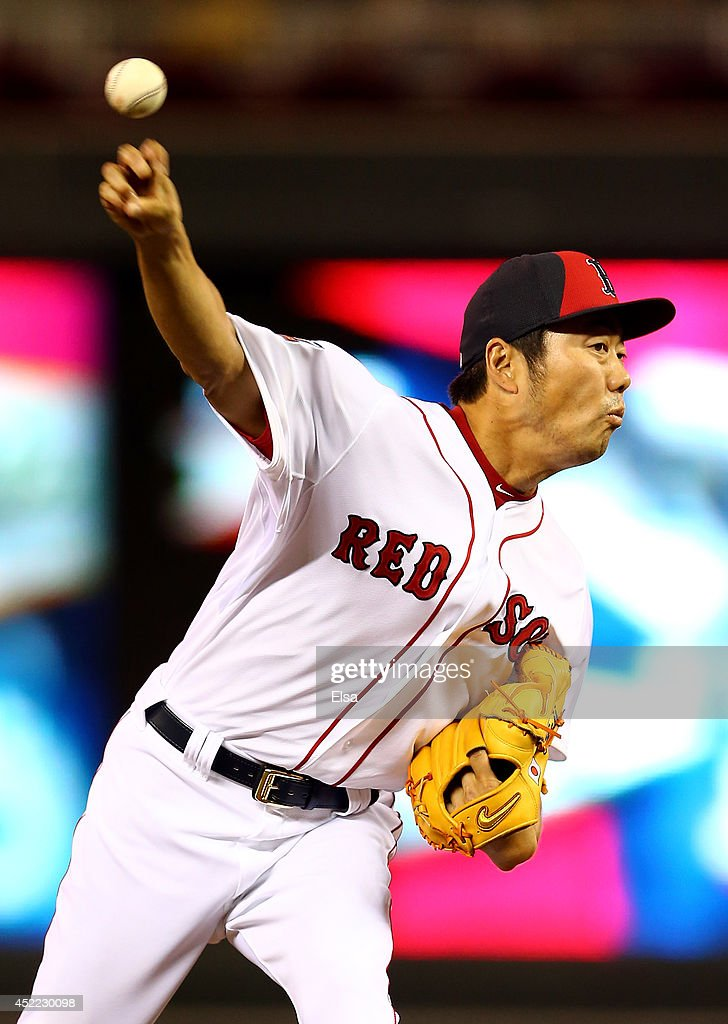 American League AllStar Koji Uehara of the Boston Red Sox pitches against the National League AllStars in the sixth inning during the 85th MLB...