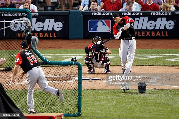 American League AllStar Manny Machado of the Baltimore Orioles reacts during the Gillette Home Run Derby presented by Head Shoulders at the Great...