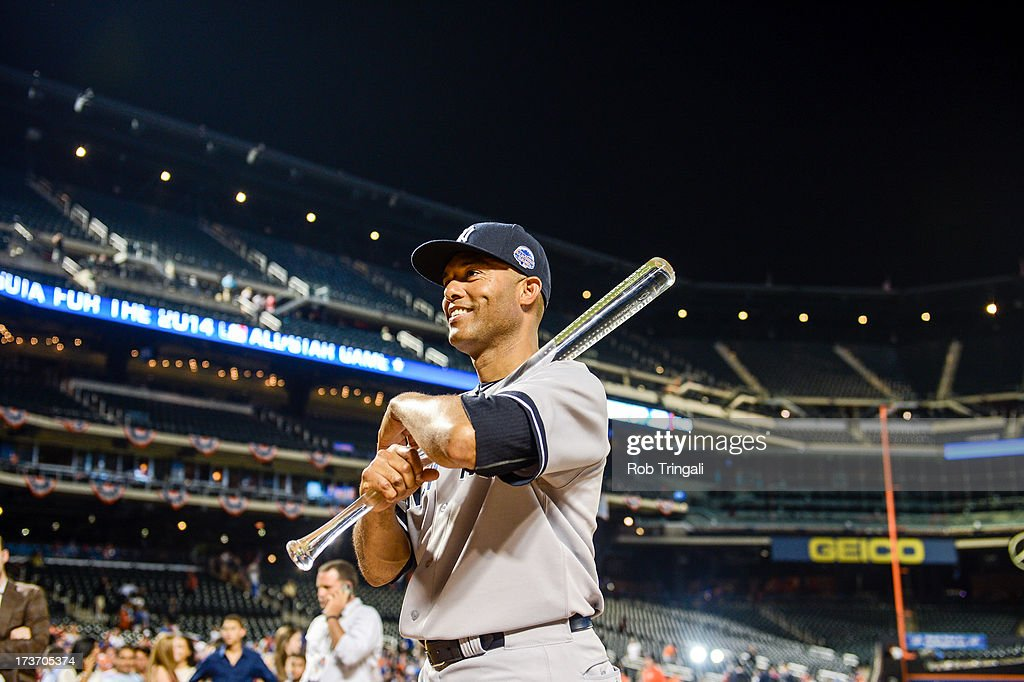 American League All-Star Mariano Rivera #42 of the New York Yankees holds the Most Valuable Player trophy after the 84th MLB All-Star Game at Citi Field on Tuesday, July 16, 2013 at Citi Field in the Flushing neighborhood of the Queens borough of New York City.