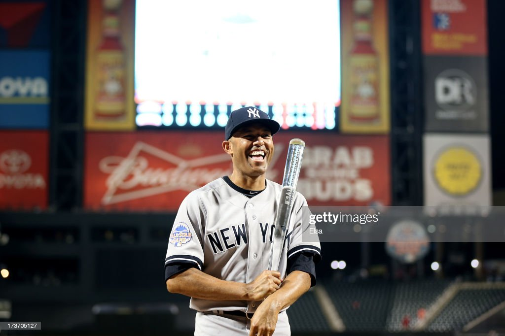 American League All-Star Mariano Rivera #42 of the New York Yankees poses with the MVP trophy after the 84th MLB All-Star Game on July 16, 2013 at Citi Field in the Flushing neighborhood of the Queens borough of New York City.