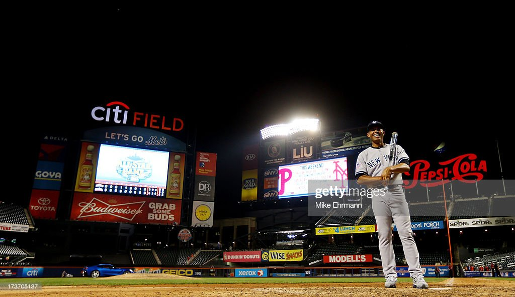 American League All-Star <a gi-track='captionPersonalityLinkClicked' href=/galleries/search?phrase=Mariano+Rivera&family=editorial&specificpeople=201607 ng-click='$event.stopPropagation()'>Mariano Rivera</a> #42 of the New York Yankees poses with the MVP trophy after the 84th MLB All-Star Game on July 16, 2013 at Citi Field in the Flushing neighborhood of the Queens borough of New York City.
