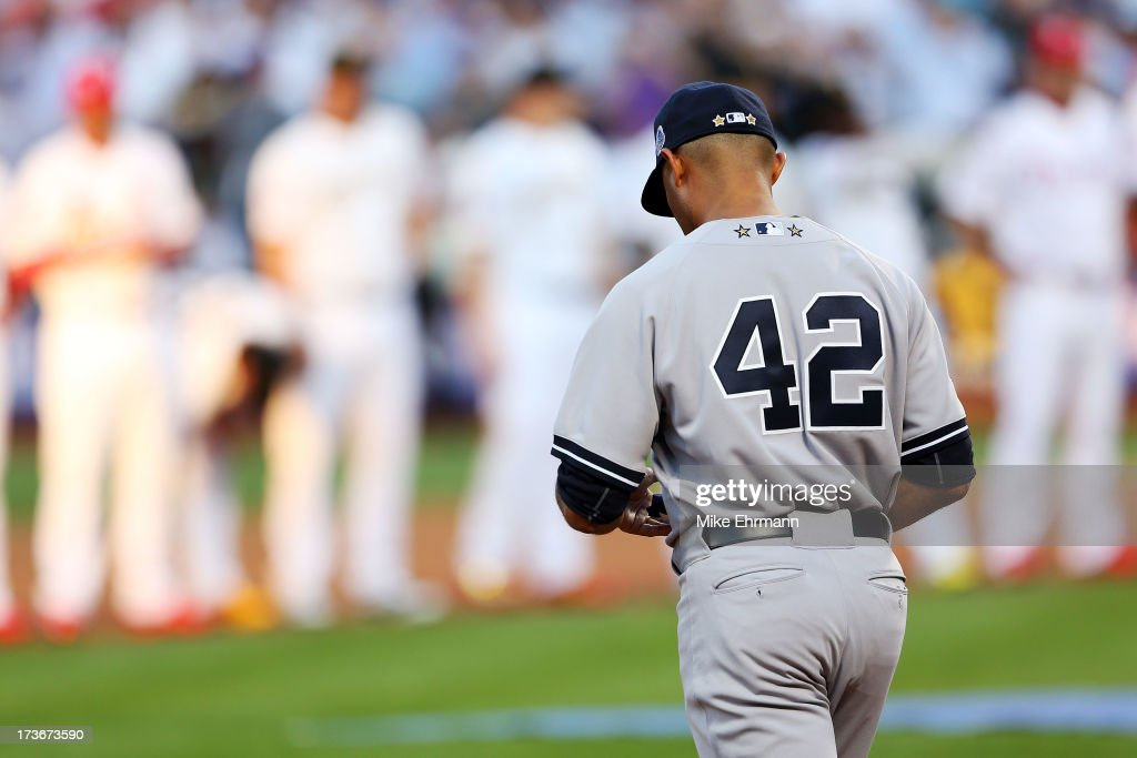 American League All-Star <a gi-track='captionPersonalityLinkClicked' href=/galleries/search?phrase=Mariano+Rivera&family=editorial&specificpeople=201607 ng-click='$event.stopPropagation()'>Mariano Rivera</a> #42 of the New York Yankees takes the field priot to the 84th MLB All-Star Game on July 16, 2013 at Citi Field in the Flushing neighborhood of the Queens borough of New York City.