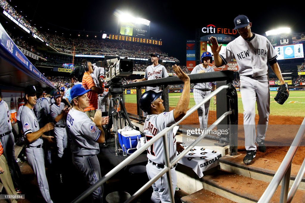 American League All-Star <a gi-track='captionPersonalityLinkClicked' href=/galleries/search?phrase=Mariano+Rivera&family=editorial&specificpeople=201607 ng-click='$event.stopPropagation()'>Mariano Rivera</a> #42 of the New York Yankees walks into the dugout after the eighth inning against National League All-Stars after the 84th MLB All-Star Game on July 16, 2013 at Citi Field in the Flushing neighborhood of the Queens borough of New York City. (Photo by Elsa/Getty Images))