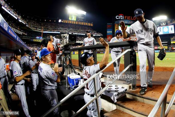 American League AllStar Mariano Rivera of the New York Yankees walks into the dugout after the eighth inning against National League AllStars after...