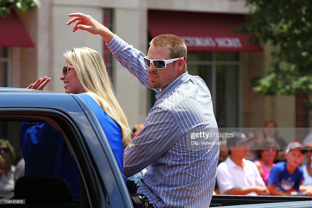 American League All-Star <a gi-track='captionPersonalityLinkClicked' href=/galleries/search?phrase=Matt+Wieters&family=editorial&specificpeople=4498276 ng-click='$event.stopPropagation()'>Matt Wieters</a> #32 of the Baltimore Orioles waves to the fans during the All-Star Game Red Carpet Show presented by Chevrolet on July 10, 2012 in Kansas City, Missouri.