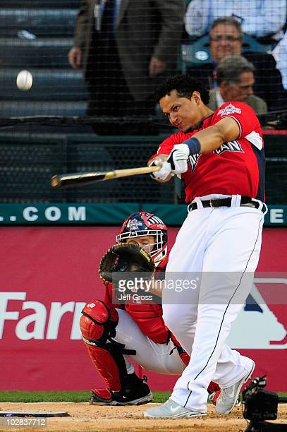 American League AllStar Miguel Cabrera of the Detroit Tigers swings the bat during the second round of the 2010 State Farm Home Run Derby during...