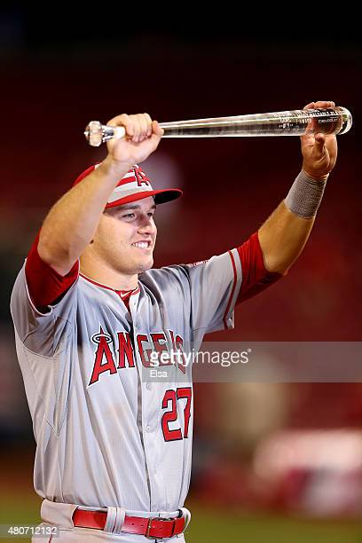 American League AllStar Mike Trout of the Los Angeles Angels of Anaheim poses with the MVP trophy after defeating the National League 6 to 3 in the...