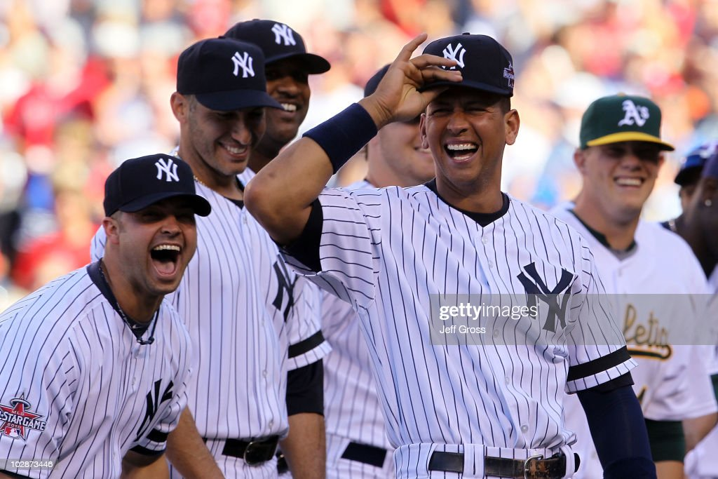 American League All-Star <a gi-track='captionPersonalityLinkClicked' href=/galleries/search?phrase=Nick+Swisher&family=editorial&specificpeople=206417 ng-click='$event.stopPropagation()'>Nick Swisher</a> #33 of the New York Yankees, American League All-Star Andy Pettitte #46 of the New York Yankees, American League All-Star CC Sabathia #52 of the New York Yankees and American League All-Star Alex Rodriguez #13 of the New York Yankees react prior to the 81st MLB All-Star Game at Angel Stadium of Anaheim on July 13, 2010 in Anaheim, California.