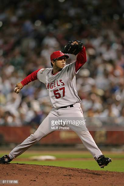 American League AllStar pitcher Francisco Rodriguez of the Anaheim Angels delivers a pitch during the Major League Baseball AllStar Game at Minute...