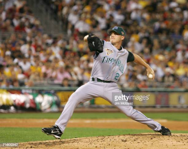 American League AllStar pitcher Scott Kazmir delivers a pitch against the National League during the 77th MLB AllStar Game on July 11 2006 at PNC...