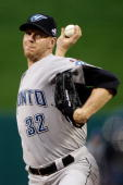 American League AllStar Roy Halladay of the Toronto Blue Jays pitches during the 2009 MLB AllStar Game at Busch Stadium on July 14 2009 in St Louis...