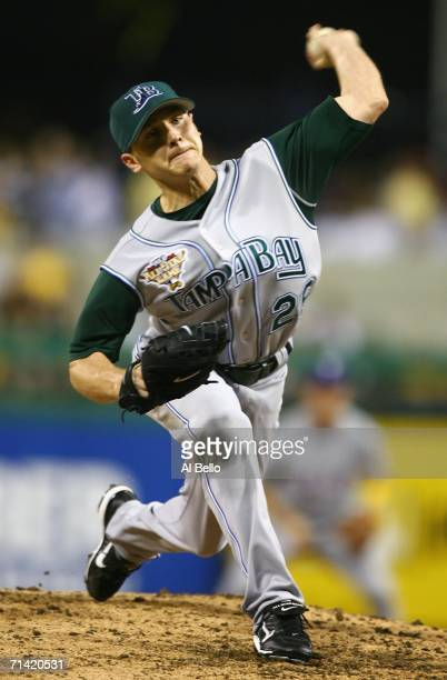 American League AllStar Scott Kazmir of the Tampa Bay Devil Rays pitches during the 77th MLB AllStar Game at PNC Park on July 11 2006 in Pittsburgh...