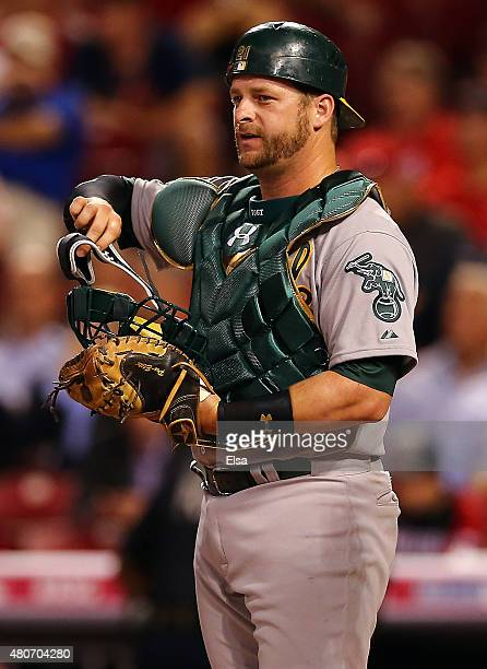American League AllStar Stephen Vogt of the Oakland Athletics looks on in the fifth inning against the National League during the 86th MLB AllStar...