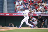 American League AllStar Vladimir Guerrero of the Texas Rangers bats during the 81st MLB AllStar Game at Angel Stadium of Anaheim on July 13 2010 in...