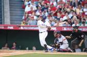 American League AllStar Vladimir Guerrero of the Texas Rangers batting during the 81st MLB AllStar Game at Angel Stadium of Anaheim on July 13 2010...
