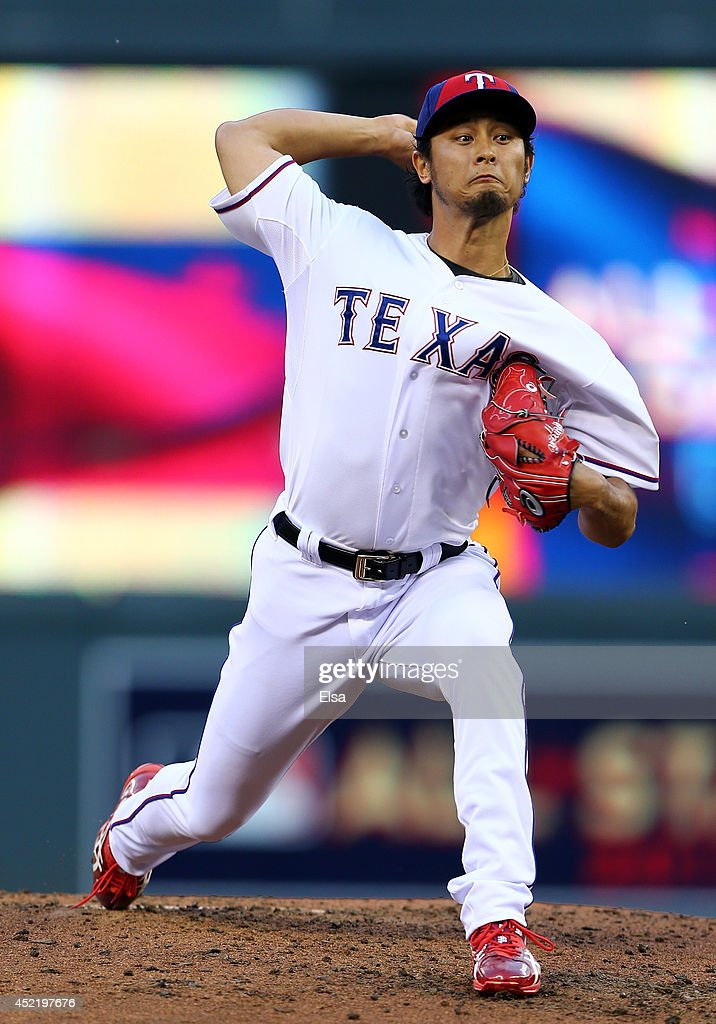 American League All-Star <a gi-track='captionPersonalityLinkClicked' href=/galleries/search?phrase=Yu+Darvish&family=editorial&specificpeople=4018539 ng-click='$event.stopPropagation()'>Yu Darvish</a> #11 of the Texas Rangers pitches against the National League All-Stars in the third inning during the 85th MLB All-Star Game at Target Field on July 15, 2014 in Minneapolis, Minnesota.
