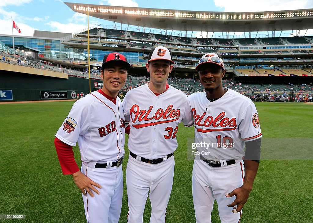 American League All-Stars <a gi-track='captionPersonalityLinkClicked' href=/galleries/search?phrase=Koji+Uehara&family=editorial&specificpeople=801278 ng-click='$event.stopPropagation()'>Koji Uehara</a> #19 of the Boston Red Sox and <a gi-track='captionPersonalityLinkClicked' href=/galleries/search?phrase=Matt+Wieters&family=editorial&specificpeople=4498276 ng-click='$event.stopPropagation()'>Matt Wieters</a> #32 and Adam Jones #10 of the Baltimore Orioles pose for a photo prior to the 85th MLB All-Star Game at Target Field on July 15, 2014 in Minneapolis, Minnesota.