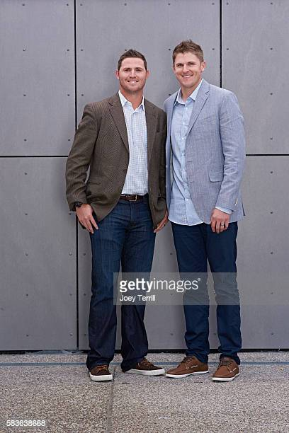 American League AllStars Zach Britton and Brad Brach of the Baltimore Orioles poses for a portrait as he enters Petco Park following the Red Carpet...