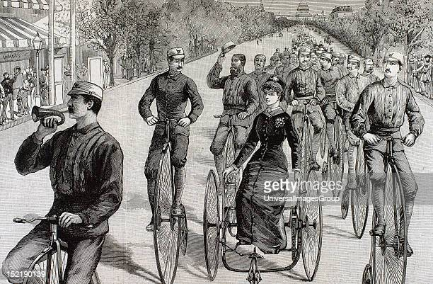 American League cycles in Pennsylvania Avenue Mid May 1884 Washington United States Engraving